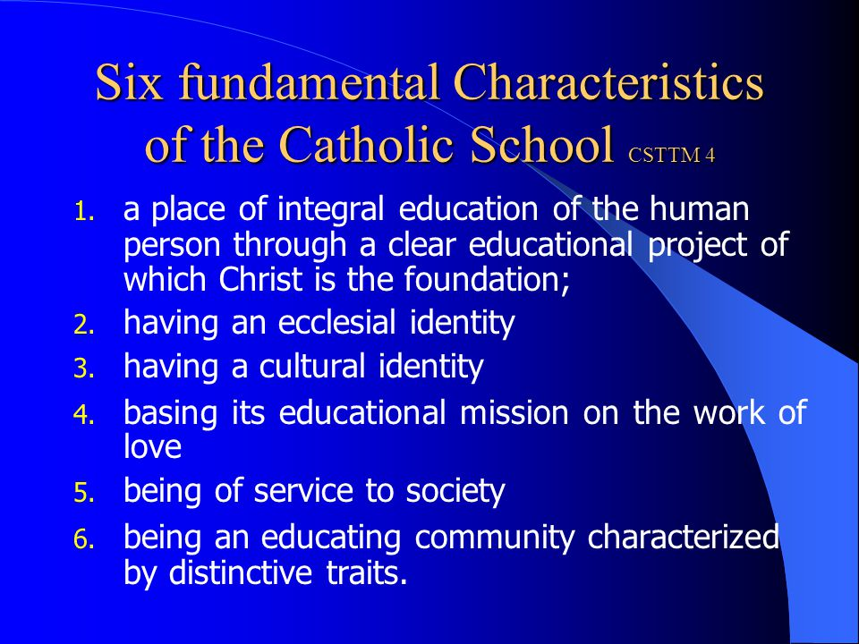 The distinctive spirit of the Catholic School No less than other schools does the Catholic school pursue cultural goals and the human formation of youth.