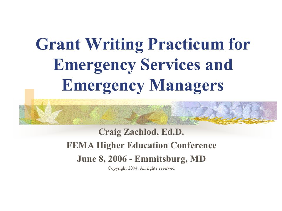 Copyright 2006, all rights reserved Day 2- Writing the Grant/Funding Proposal- Workshop Day FOCUS: Writing the Grant/Funding Proposal We will discuss: Proposal Writing Style and Format Proposal Structure Evaluating your Proposal