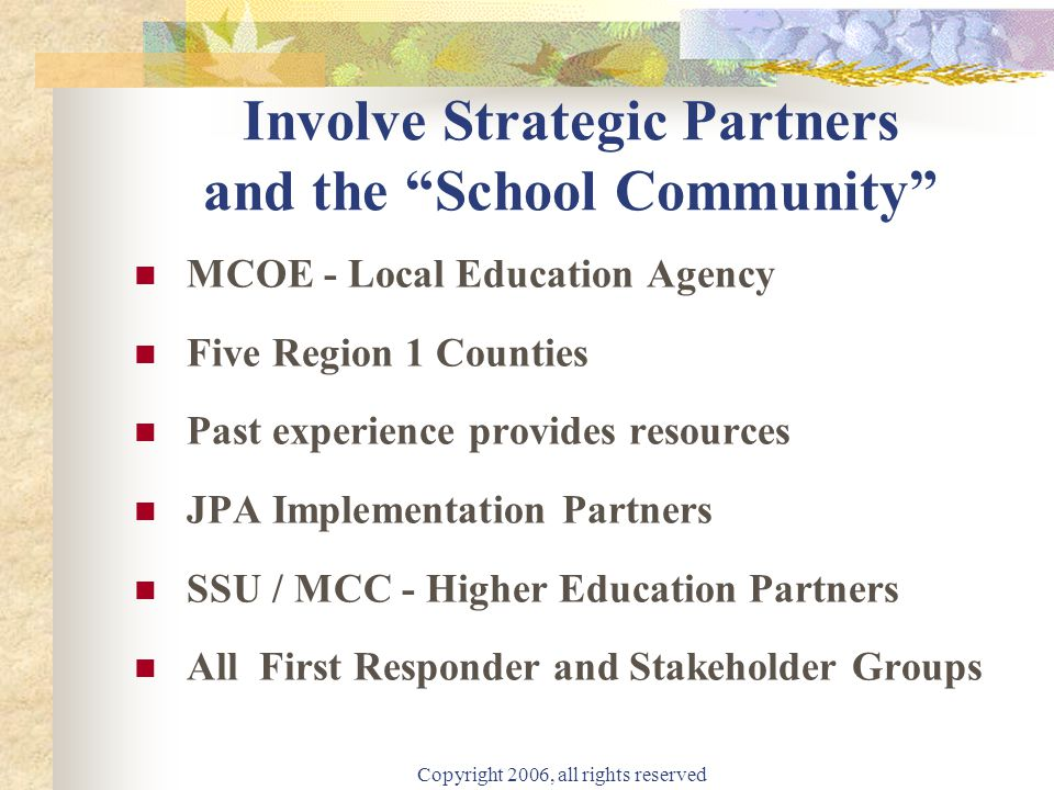 """Copyright 2006, all rights reserved Involve Strategic Partners and the """"School Community"""" MCOE - Local Education Agency Five Region 1 Counties Past ex"""