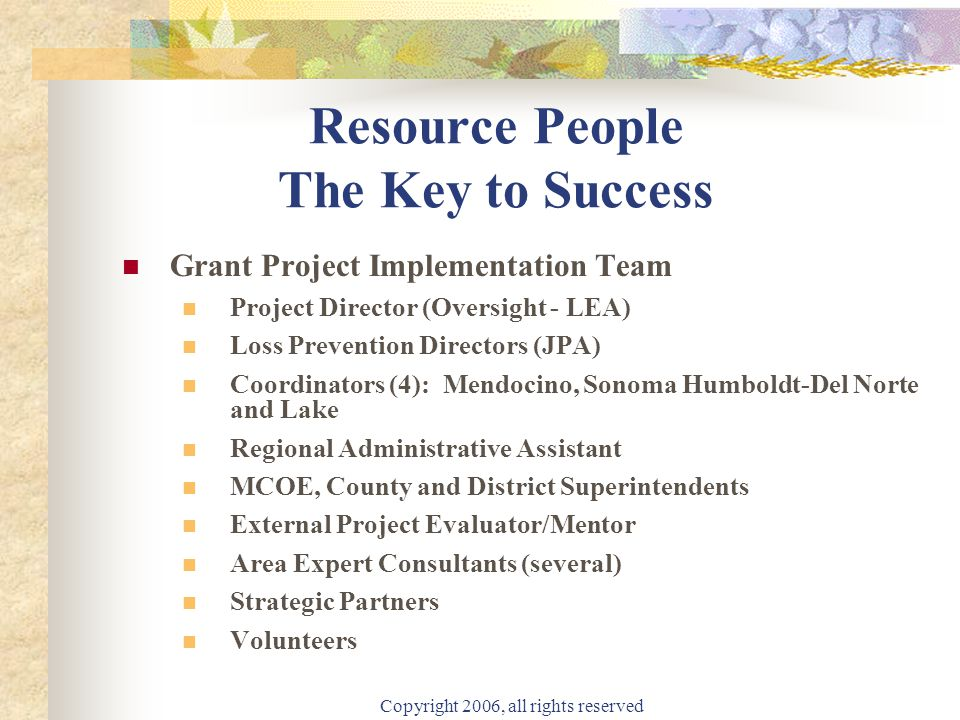 Copyright 2006, all rights reserved Resource People The Key to Success Grant Project Implementation Team Project Director (Oversight - LEA) Loss Preve