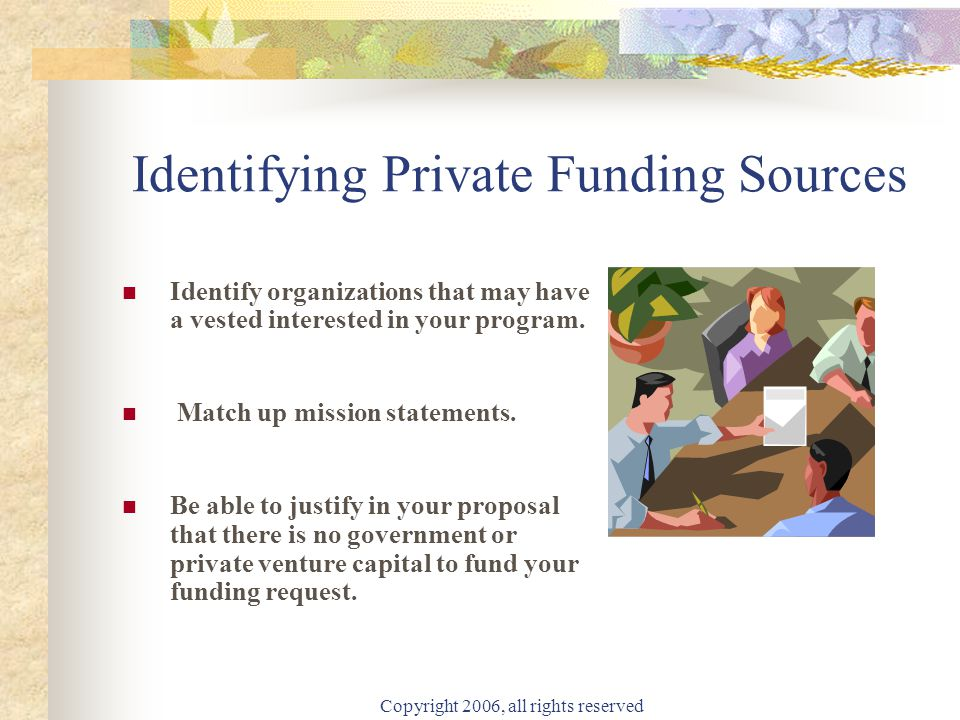 Copyright 2006, all rights reserved Identifying Private Funding Sources Identify organizations that may have a vested interested in your program.