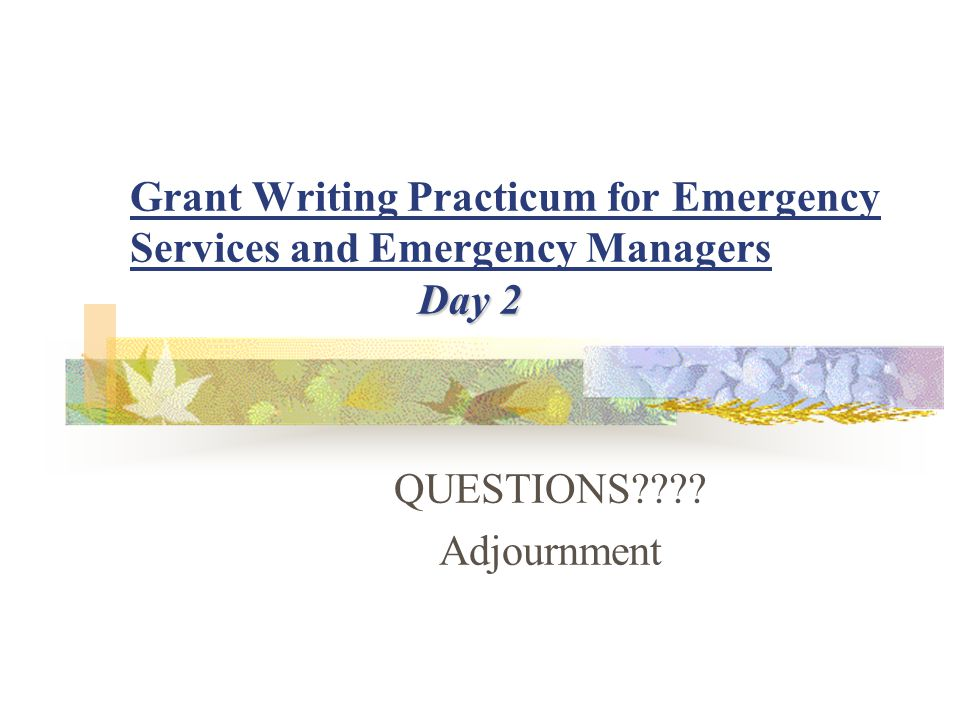Day 2 Grant Writing Practicum for Emergency Services and Emergency Managers Day 2 QUESTIONS???.