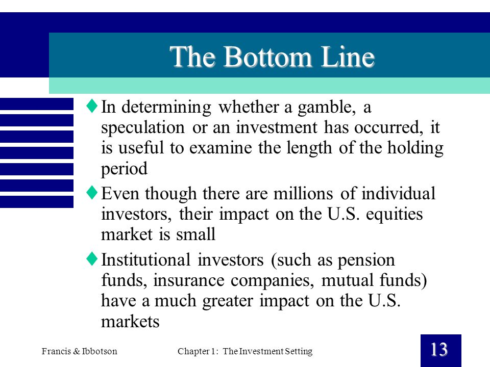 Francis & IbbotsonChapter 1: The Investment Setting 13 The Bottom Line  In determining whether a gamble, a speculation or an investment has occurred, it is useful to examine the length of the holding period  Even though there are millions of individual investors, their impact on the U.S.