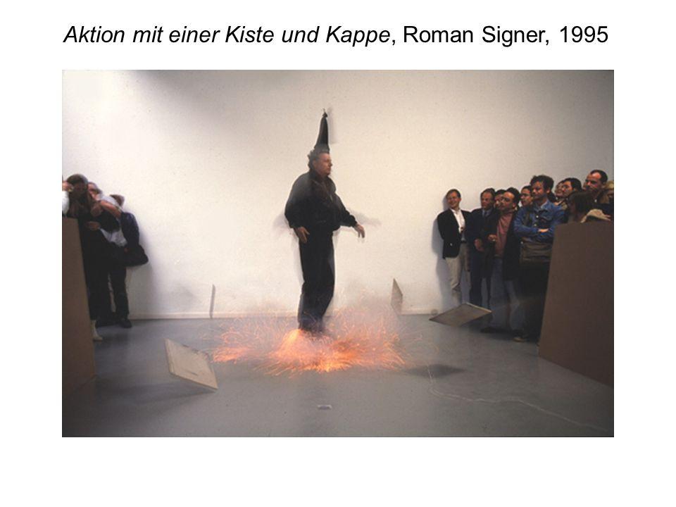Aktion mit einer Kiste und Kappe, Roman Signer, 1995