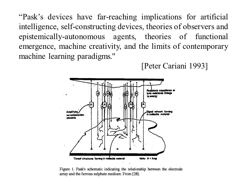 Pask's devices have far-reaching implications for artificial intelligence, self-constructing devices, theories of observers and epistemically-autonomous agents, theories of functional emergence, machine creativity, and the limits of contemporary machine learning paradigms. [Peter Cariani 1993]