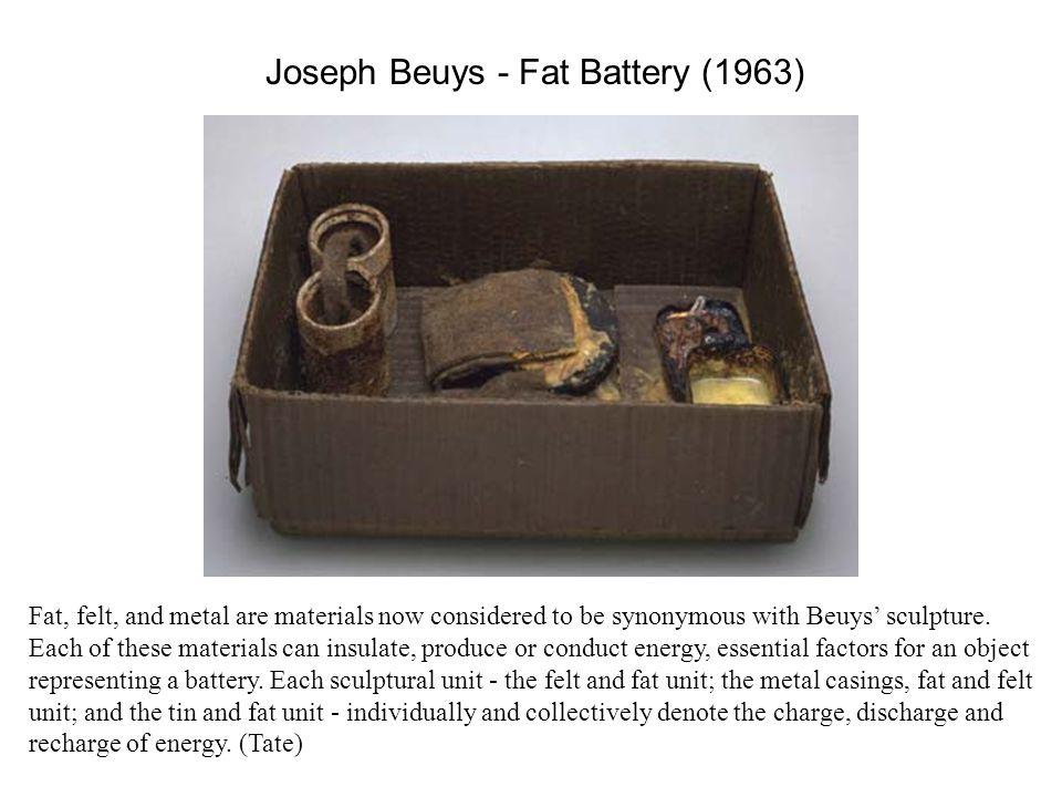 Joseph Beuys - Capri Battery (1985) Made during the last year of his life while Beuys was recovering from a lung ailment on the Mediterranean island of Capri.
