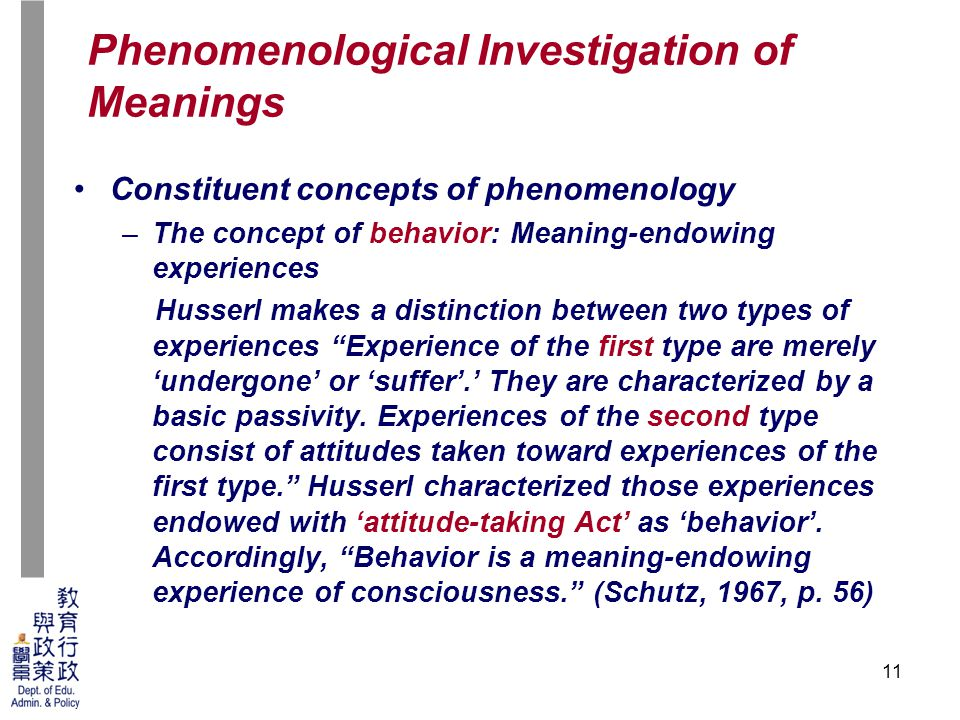 11 Constituent concepts of phenomenology –The concept of behavior: Meaning-endowing experiences Husserl makes a distinction between two types of experiences Experience of the first type are merely 'undergone' or 'suffer'.' They are characterized by a basic passivity.