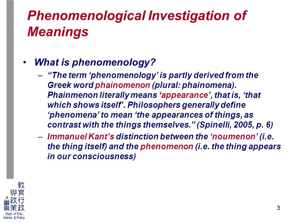 3 What is phenomenology.