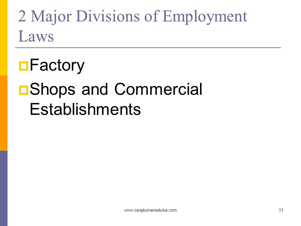 www.carajkumarradukia.com11 2 Major Divisions of Employment Laws  Factory  Shops and Commercial Establishments