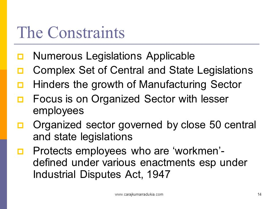 www.carajkumarradukia.com14 The Constraints  Numerous Legislations Applicable  Complex Set of Central and State Legislations  Hinders the growth of