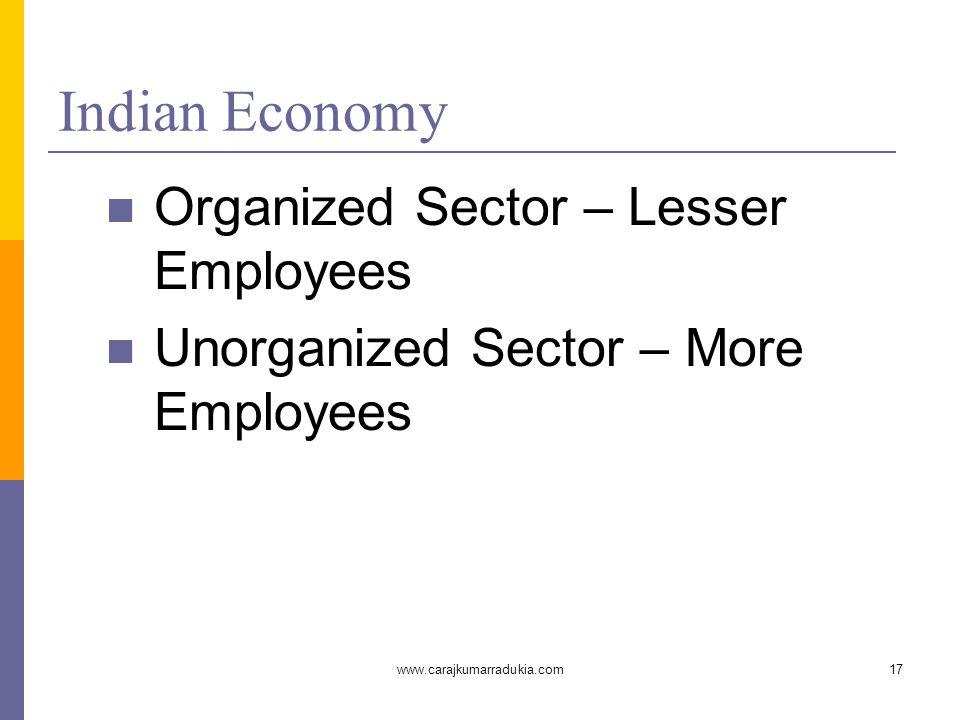 www.carajkumarradukia.com17 Indian Economy Organized Sector – Lesser Employees Unorganized Sector – More Employees