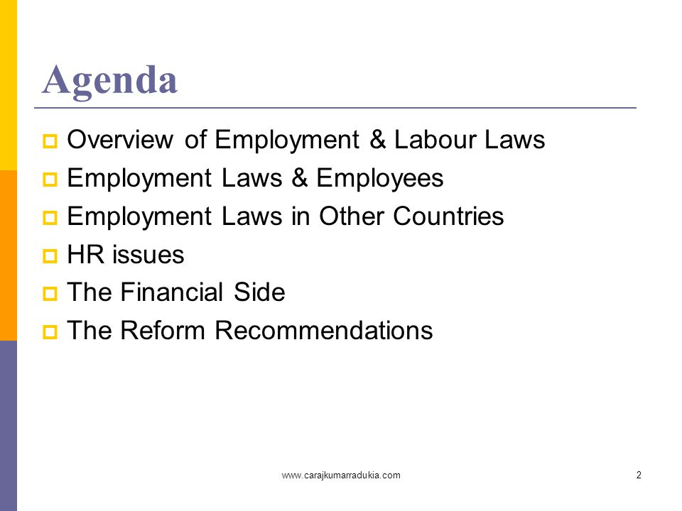 www.carajkumarradukia.com2 Agenda  Overview of Employment & Labour Laws  Employment Laws & Employees  Employment Laws in Other Countries  HR issues  The Financial Side  The Reform Recommendations