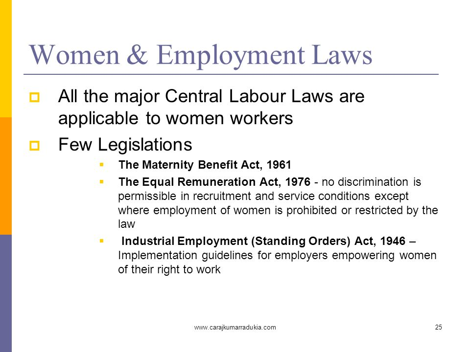 www.carajkumarradukia.com25 Women & Employment Laws  All the major Central Labour Laws are applicable to women workers  Few Legislations  The Mater