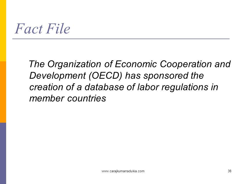 www.carajkumarradukia.com38 Fact File The Organization of Economic Cooperation and Development (OECD) has sponsored the creation of a database of labo