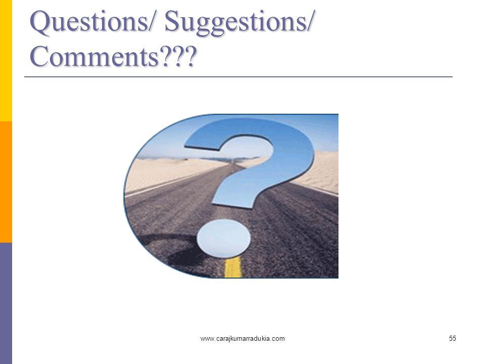 www.carajkumarradukia.com55 Questions/ Suggestions/ Comments???