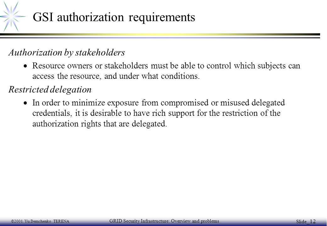 ©2001. Yu.Demchenko. TERENA GRID Security Infrastructure: Overview and problems Slide _12 GSI authorization requirements Authorization by stakeholders