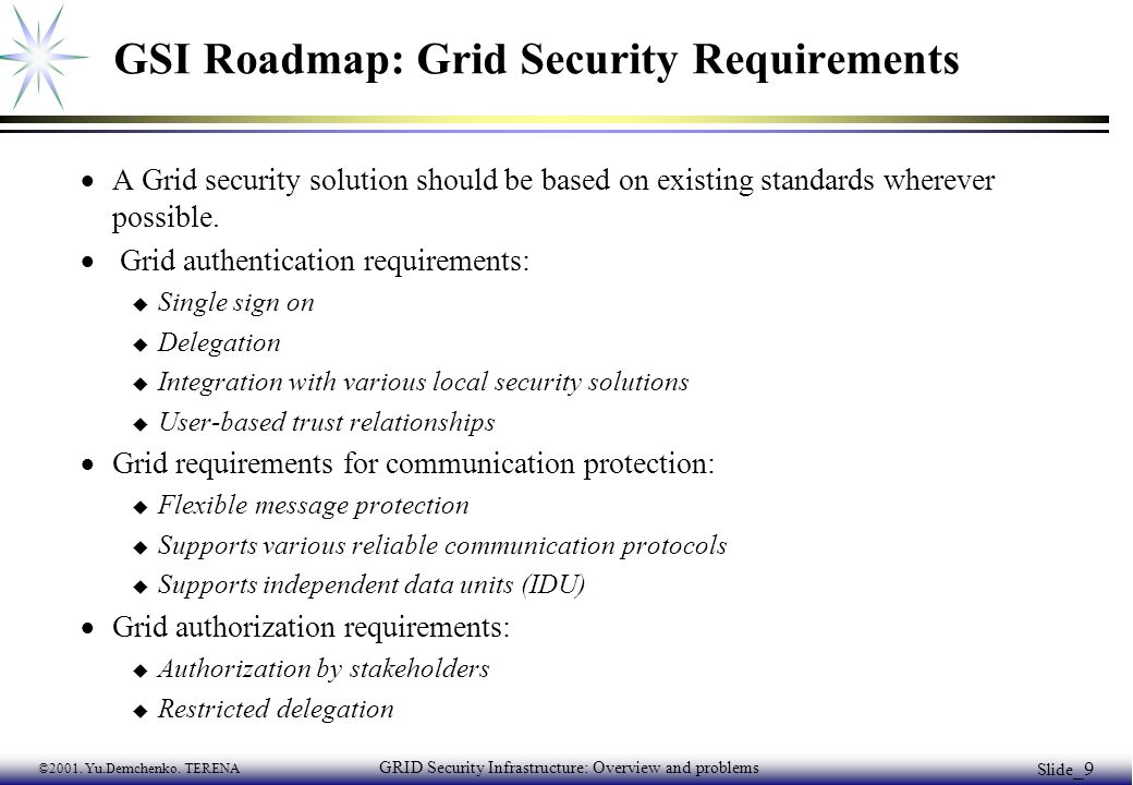 ©2001. Yu.Demchenko. TERENA GRID Security Infrastructure: Overview and problems Slide _9 GSI Roadmap: Grid Security Requirements  A Grid security sol