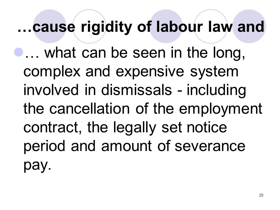 20 …cause rigidity of labour law and … what can be seen in the long, complex and expensive system involved in dismissals - including the cancellation