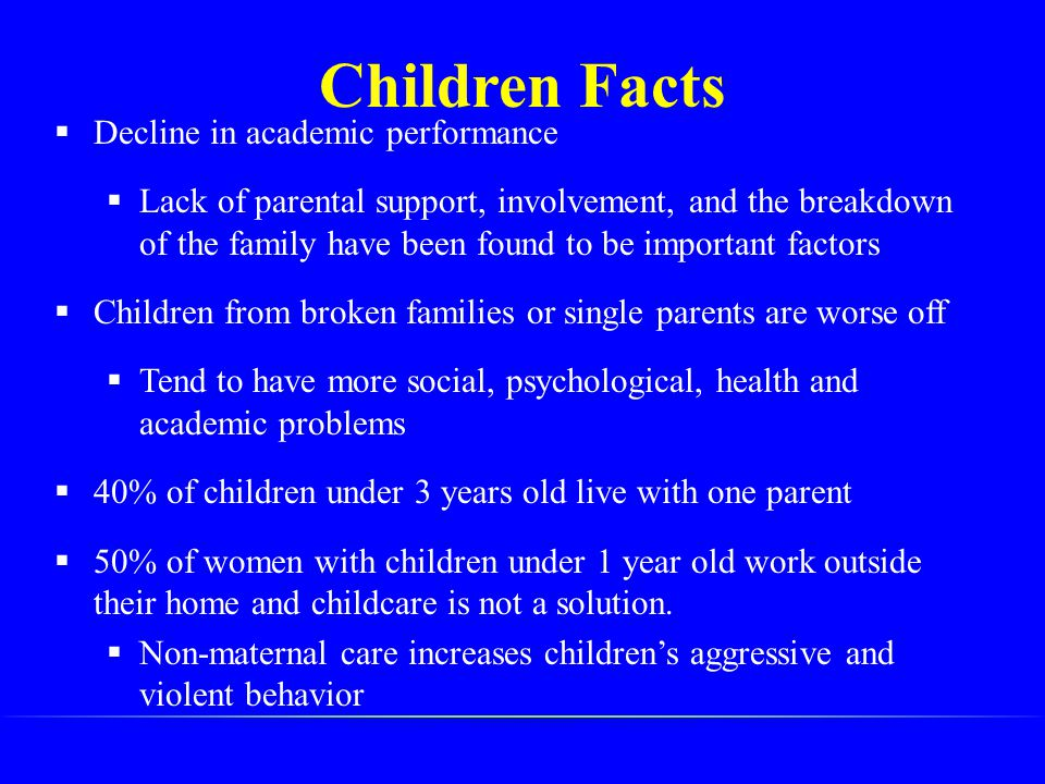 Children Facts  Decline in academic performance  Lack of parental support, involvement, and the breakdown of the family have been found to be import