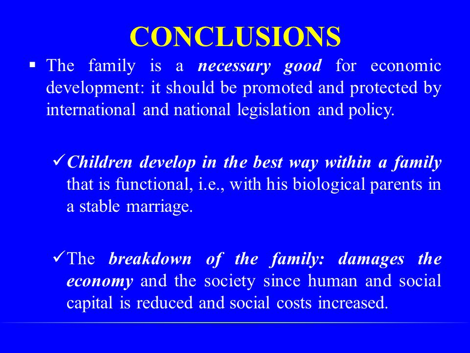 CONCLUSIONS  The family is a necessary good for economic development: it should be promoted and protected by international and national legislation a