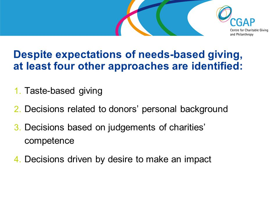 Despite expectations of needs-based giving, at least four other approaches are identified: 1.