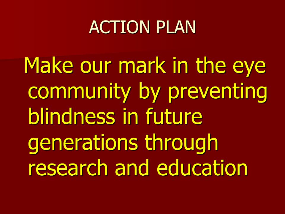 ACTION PLAN Make our mark in the eye community by preventing blindness in future generations through research and education Make our mark in the eye community by preventing blindness in future generations through research and education