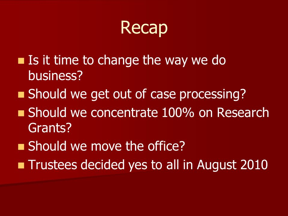 Recap Is it time to change the way we do business.