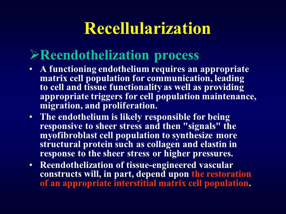 Recellularization  Reendothelization process A functioning endothelium requires an appropriate matrix cell population for communication, leading to c
