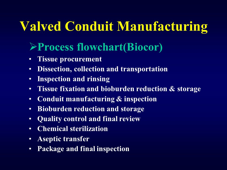 Valved Conduit Manufacturing  Process flowchart(Biocor) Tissue procurement Dissection, collection and transportation Inspection and rinsing Tissue fi