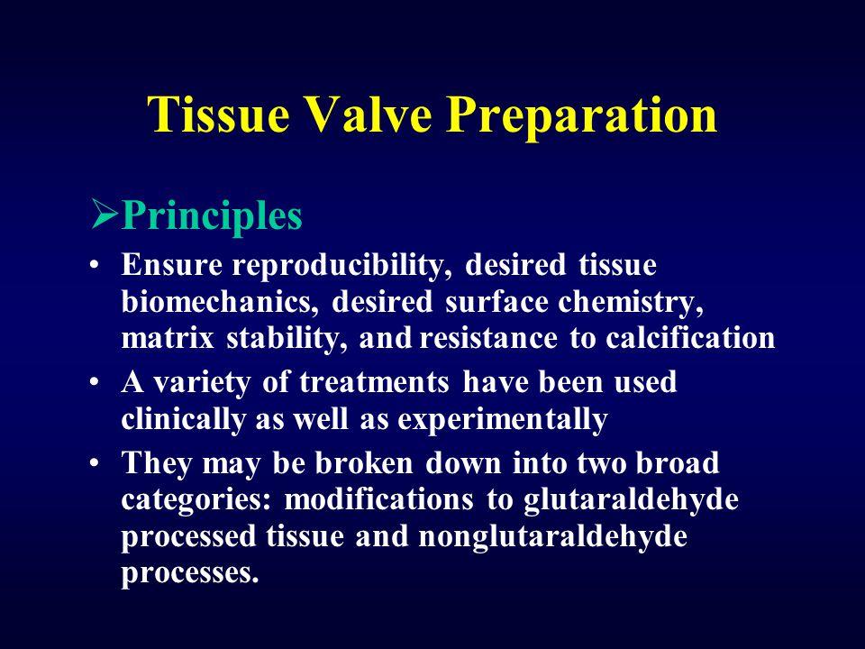 Tissue Valve Preparation  Principles Ensure reproducibility, desired tissue biomechanics, desired surface chemistry, matrix stability, and resistance