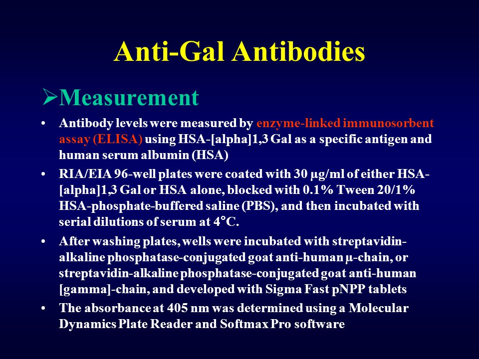 Anti-Gal Antibodies  Measurement Antibody levels were measured by enzyme-linked immunosorbent assay (ELISA) using HSA-[alpha]1,3 Gal as a specific an