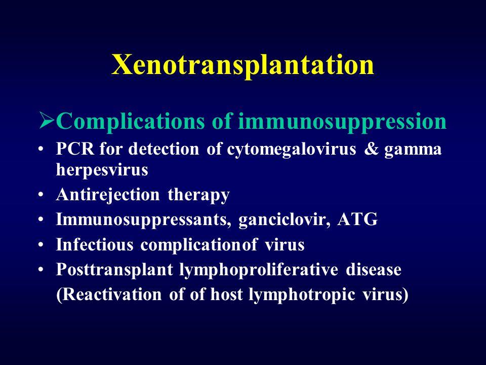 Xenotransplantation  Complications of immunosuppression PCR for detection of cytomegalovirus & gamma herpesvirus Antirejection therapy Immunosuppress