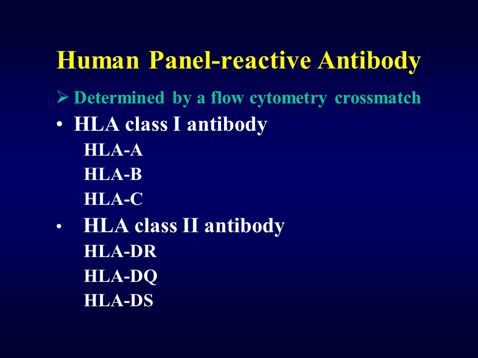 Human Panel-reactive Antibody  Determined by a flow cytometry crossmatch HLA class I antibody HLA-A HLA-B HLA-C HLA class II antibody HLA-DR HLA-DQ H