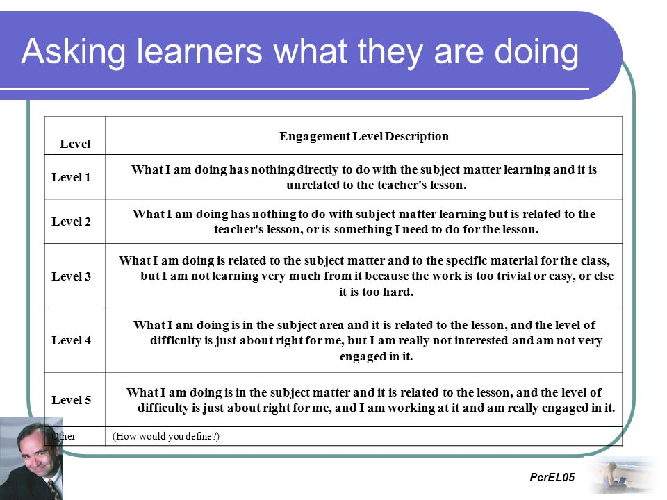 PerEL05 Asking learners what they are doing Level Engagement Level Description Level 1 What I am doing has nothing directly to do with the subject matter learning and it is unrelated to the teacher s lesson.