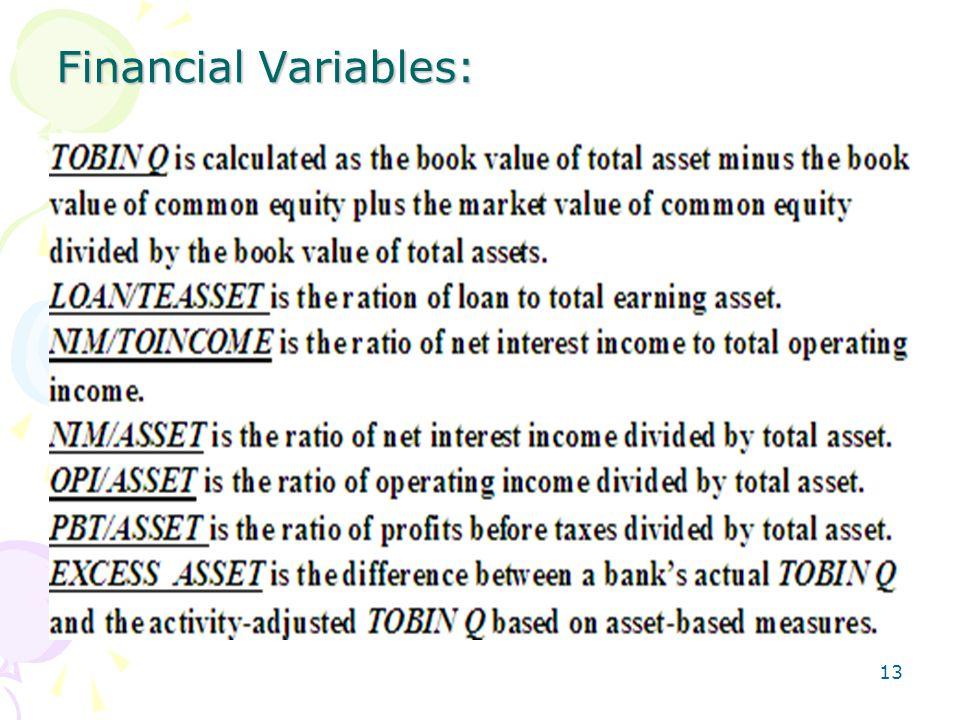 13 Financial Variables: