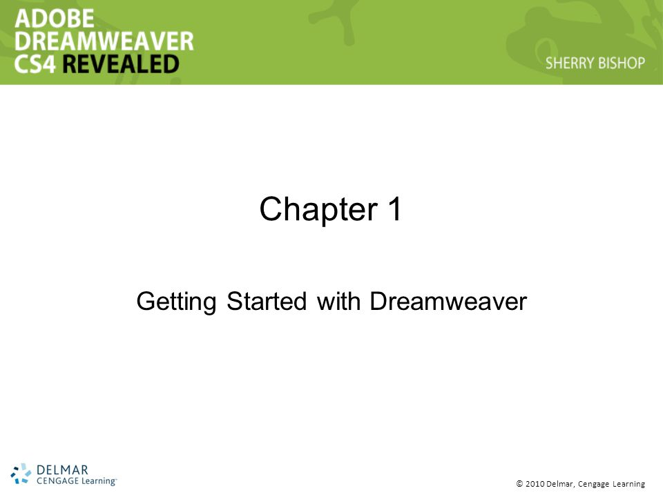© 2010 Delmar, Cengage Learning Chapter 1 Getting Started with Dreamweaver