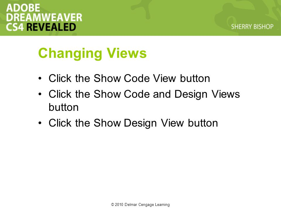 © 2010 Delmar Cengage Learning Changing Views Click the Show Code View button Click the Show Code and Design Views button Click the Show Design View button