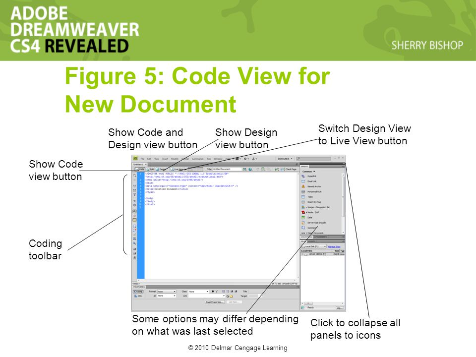 © 2010 Delmar Cengage Learning Figure 5: Code View for New Document Coding toolbar Show Code view button Show Code and Design view button Show Design view button Switch Design View to Live View button Some options may differ depending on what was last selected Click to collapse all panels to icons