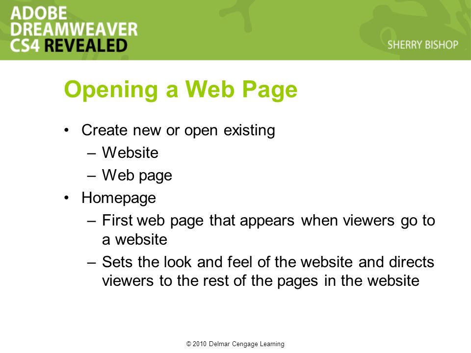 © 2010 Delmar Cengage Learning Opening a Web Page Create new or open existing –Website –Web page Homepage –First web page that appears when viewers go to a website –Sets the look and feel of the website and directs viewers to the rest of the pages in the website