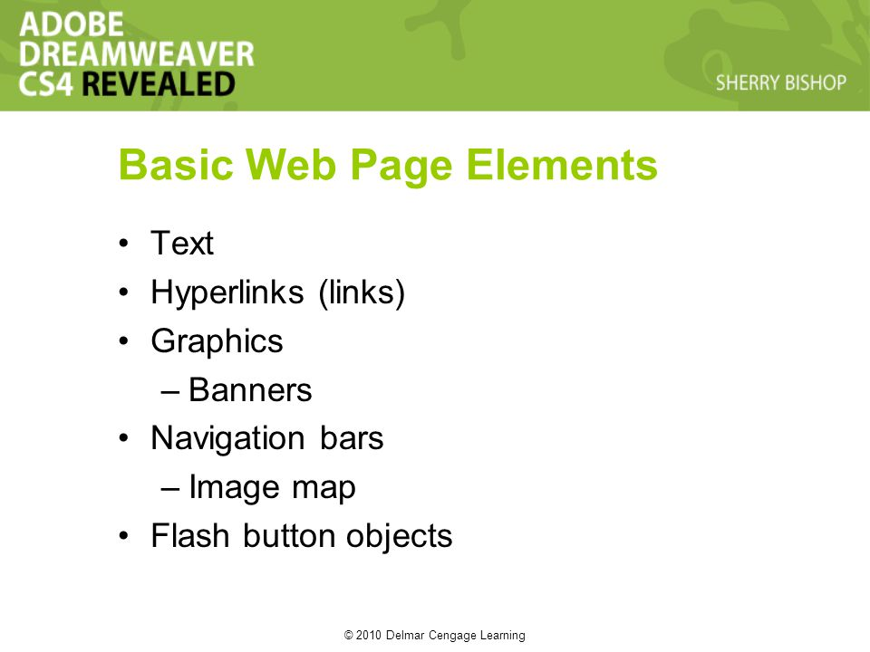 © 2010 Delmar Cengage Learning Basic Web Page Elements Text Hyperlinks (links) Graphics –Banners Navigation bars –Image map Flash button objects
