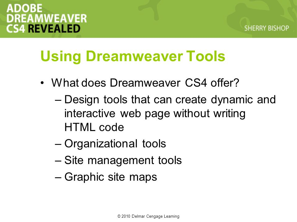 © 2010 Delmar Cengage Learning Using Dreamweaver Tools What does Dreamweaver CS4 offer.