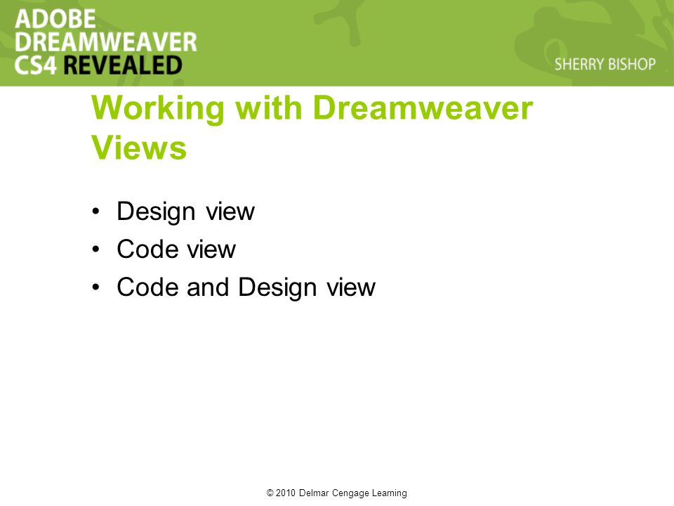 © 2010 Delmar Cengage Learning Working with Dreamweaver Views Design view Code view Code and Design view