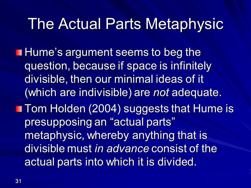 31 The Actual Parts Metaphysic Hume's argument seems to beg the question, because if space is infinitely divisible, then our minimal ideas of it (which are indivisible) are not adequate.