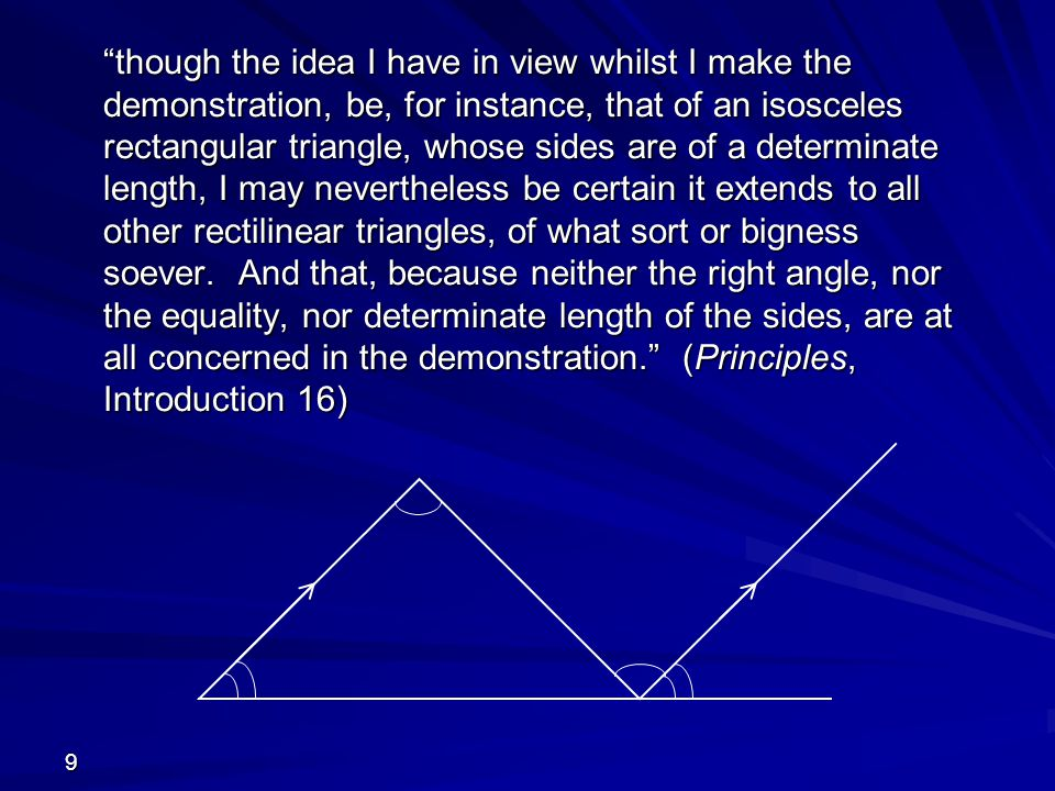 9 though the idea I have in view whilst I make the demonstration, be, for instance, that of an isosceles rectangular triangle, whose sides are of a determinate length, I may nevertheless be certain it extends to all other rectilinear triangles, of what sort or bigness soever.