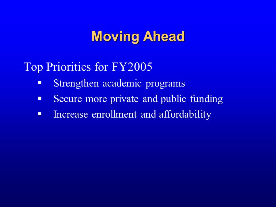 Moving Ahead Top Priorities for FY2005  Strengthen academic programs  Secure more private and public funding  Increase enrollment and affordability