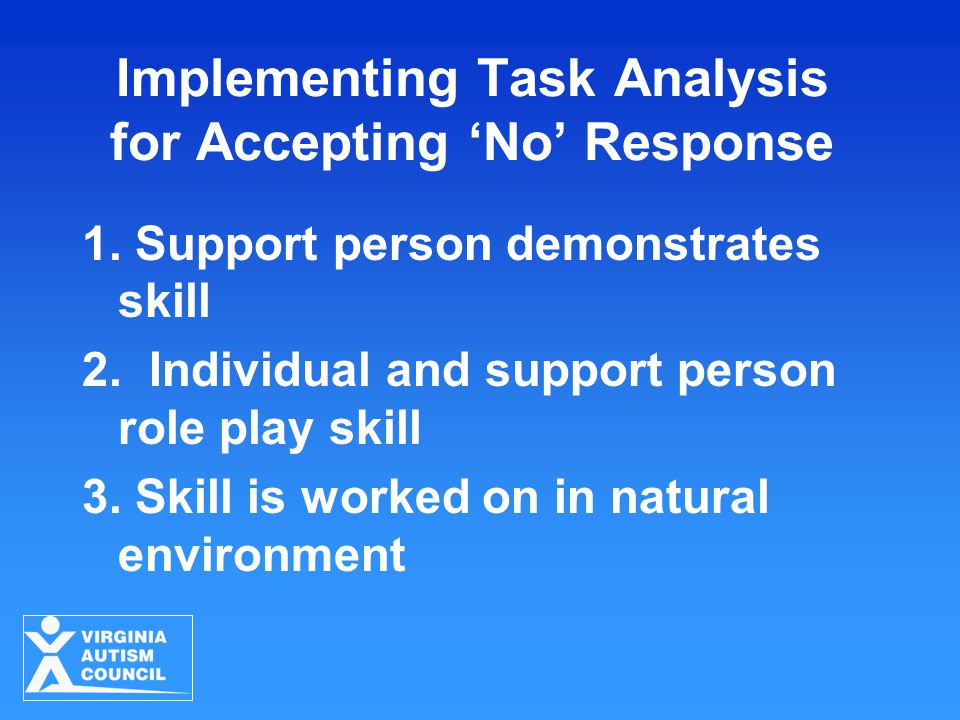 Implementing Task Analysis for Accepting 'No' Response 1. Support person demonstrates skill 2. Individual and support person role play skill 3. Skill