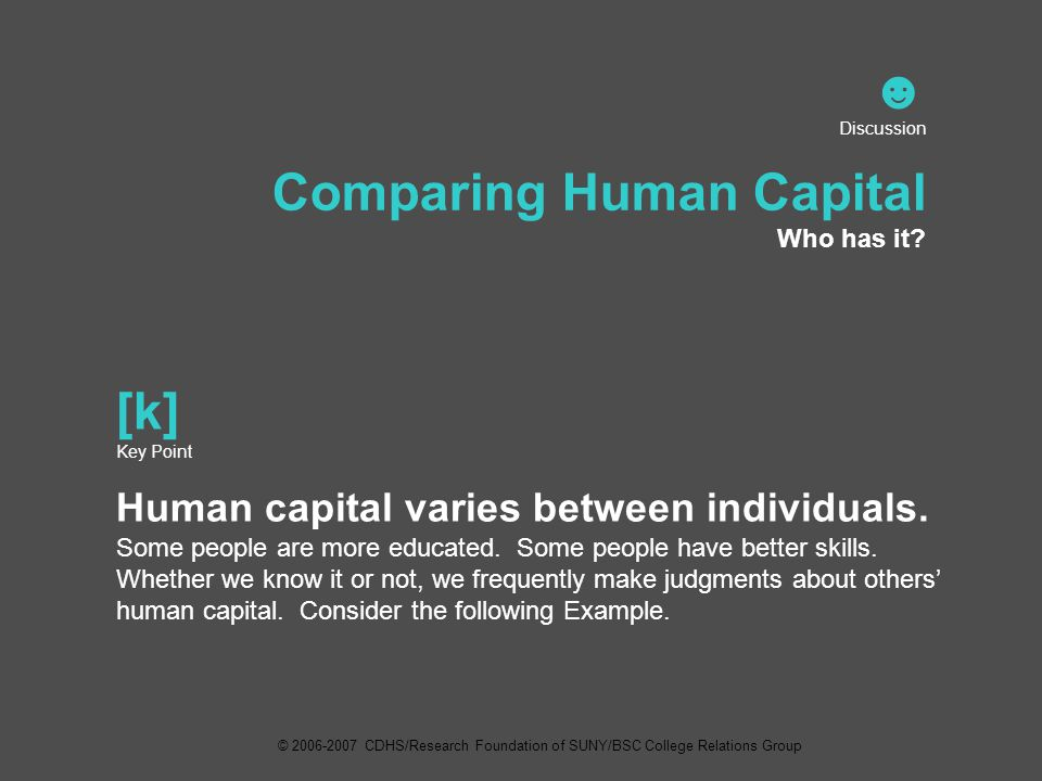 ☻ Discussion Comparing Human Capital Who has it.