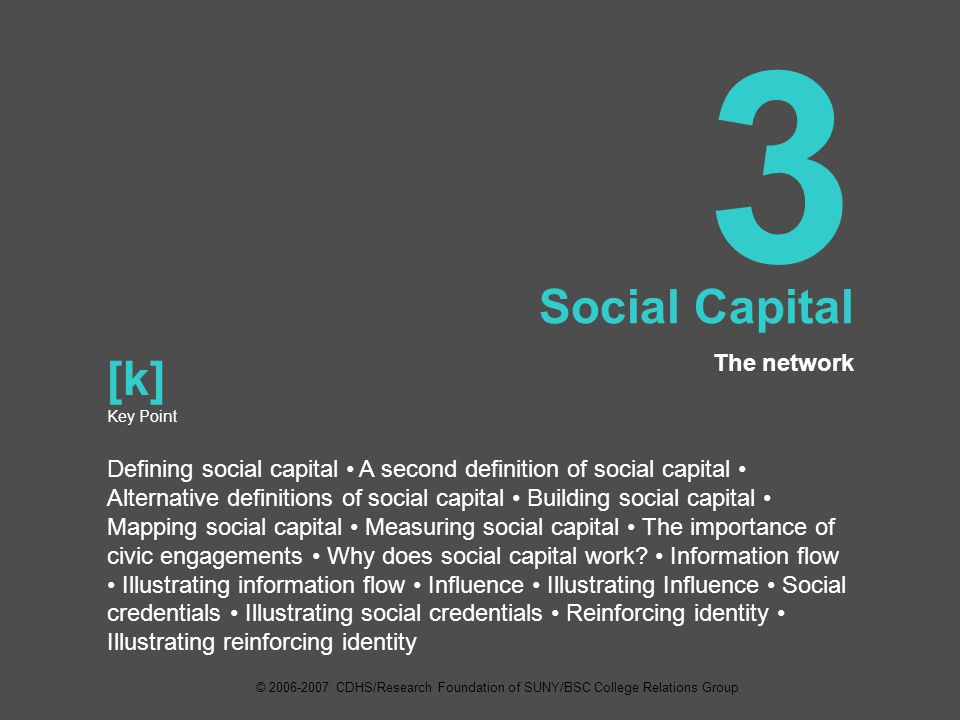 3 Social Capital The network [k] Key Point Defining social capital A second definition of social capital Alternative definitions of social capital Building social capital Mapping social capital Measuring social capital The importance of civic engagements Why does social capital work.