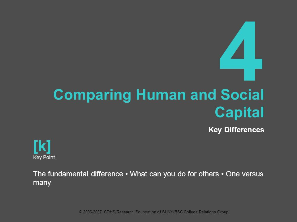 4 Comparing Human and Social Capital Key Differences [k] Key Point The fundamental difference What can you do for others One versus many © 2006-2007 CDHS/Research Foundation of SUNY/BSC College Relations Group