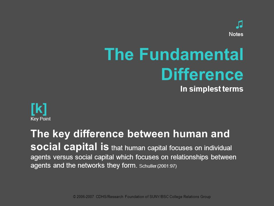 ♫ Notes The Fundamental Difference In simplest terms [k] Key Point The key difference between human and social capital is that human capital focuses on individual agents versus social capital which focuses on relationships between agents and the networks they form.